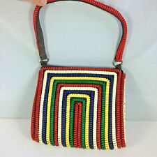 Excellent! Vtg 1940s-1950s Telephone Cord Purse Handbag Multicolor Alpha