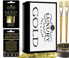 200 x 24ct Gold Leaf Sheets kit, (2 brushes)  & glue.  Art Crafts Design Gilding
