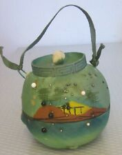 antique hand painted CHINESE SILK PINCUSHION green basket form