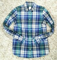 J CREW THE BOY SHIRT Womens Green & Blue Plaid Button Down Blouse Size 2