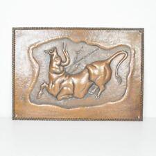 Kupferbild - Wandbild - Stier - Reliefbild - Kupferbild - alt - Stierkampf