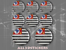 8 x 3D ROUND Stickers Resin Domed Flag Estado de São Paulo - Adhesive Decal