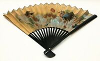 """Large Oriental Vintage Hand Painted Fan Decorative Wall Hanging Art 35"""""""