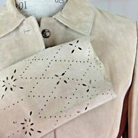 Charter Club Suede Skirt Suit Women's size 12 Beige Laser Pierced Leather
