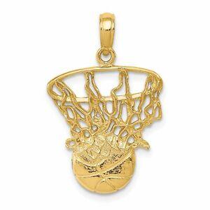 14K Gold Swoosh Basketball & Hoop Charm Sports Pendant