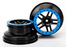 Traxxas 1/10 Nitro Slash 2 FRONT SCT SPLIT-SPOKE BLACK WHEELS W/ BLUE BEADLOCK