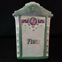 MEPOCO Luster Ware Flour Canister Jar With Lid Floral Design Germany