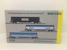 minitrix N coffret de 3 wagons bâchés SNCF transport d'eau minérale réf. 15375