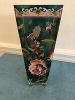 "Green Translucent Glass 10"" Vasel Hand Painted Raised Flowers"