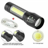 T6 cob led taktische usb wiederaufladbare zoomable tragbare taschenlampe lampe