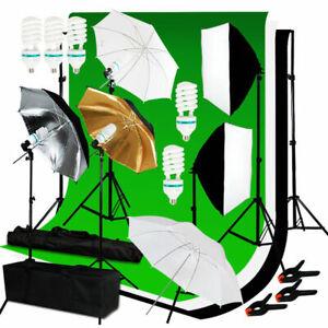 Photography Studio Backdrop Softbox Umbrella Lighting Kit Background Stand Set
