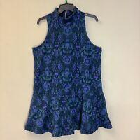 Free People Size L Amelia Mini Knit Jacquard Mock Neck Retro Shift Dress