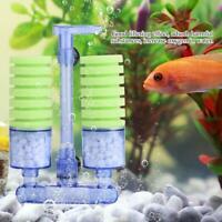 Aquarium Fish Tank Biochemical Sponge Filter Air Pump Double Head w/ Suction Cup