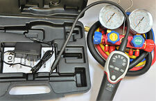HVAC Tool Kit:4Way Maifold Gauge R410a+hose set+Heated Refrigerant Leak Detector