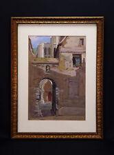 Esquisse pour un tableau.Gouache originale signée 1932 .En fond une cathédrale .
