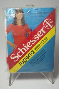 70er Vintage Bambina Canottiera T-Shirt 1/2Arm Top Schiesser 152 N. Conf. Orig.