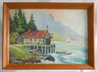Fishing Oil Painting Pacific Northwest Naive Vintage Modernist Coastal LF Young