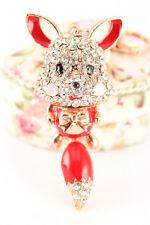 Red Fox Fashion Keychain Rhinestone Crystal Charm Cute Animal Fluffy Gift 01339