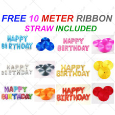 """16"""" Happy Birthday Banner Balloon Bunting Gold Pink Blue Red Silver Letters Foil"""