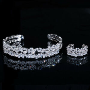 CWWZircons Fashion Brand Baguette CZ Women Rose Gold Cuff Ring Bracelet Bangles