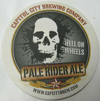 PALE RIDER ALE HELL ON WHEELS Beer COASTER Mat Skull, Capitol City WASHINGTON DC