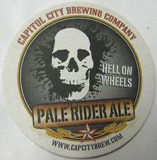 PALE RIDER ALE HELL ON WHEELS Beer COASTER Mat Skull, Capitol City WASHINGTON DC