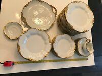 Vintage French J. Pouyat Limoges 42 pc Limoges gilt china dinner set *RARE*