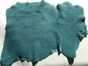 sheepskin shearling leather hide Dark Teal Green Plush Fluffy Hair w/Suede back