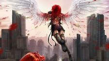 """STUNNING ANGEL /WINGS/BLACK/WHITE/RED CANVAS PICTURE WALL ART LARGE 20x30"""""""