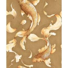 Wallpaper Designer Golden Orange Koi Fish on Gold Faux