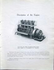 1912 – MOTORI DIESEL WESTINGHOUSE – DIESEL ENGINE VECCHIO CATALOGO ILLUSTRATO