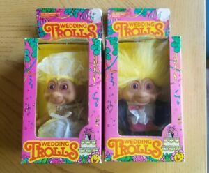 Vintage Wedding Trolls, Yellow Hair, Bride And Groom In Original Package