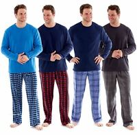 Mens fleece Pyjamas Checked Harvey James Heritage Lounge Wear Warm Soft PJ's
