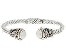 Artisan Crafted Sterling Silver & 18K Gold Mabe Pearl Cuff Bracelet- Average