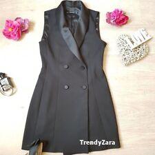 NEW ZARA AW18 BLACK SHAWL COLLAR WAISTCOAT DRESS 7593/250 XS  CHALECO VESTIDO