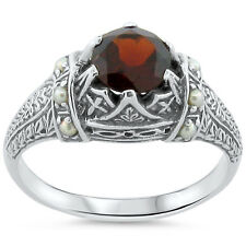 GENUINE GARNET SEED PEARL ANTIQUE VICTORIAN STYLE .925 SILVER RING Sz 10, #185