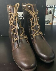 Sorel Women's Cate Lace Up Booties Ankle Boots Shoes Size 11 Burro Brown NIB