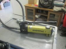 Enerpac Model: P-142 Hydraulic Hand Pump withe Hose and Gauge.  Tested Good  <