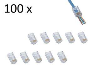 100 RJ45 CAT6 - Crimp Cable Connectors End pass through Ethernet modular Plug EZ