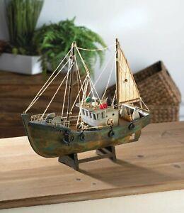 Rustic Decorative Fishing Boat Wooden Ship Model Nautical Sailboat Home Decor