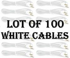 LOT X 100pc WHITE AUX CABLES AUXILIARY CORD Male Stereo Audio Cable iPod MP3 CAR