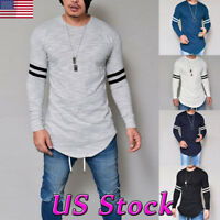 Mens Slim Fit O Neck Long Sleeve Muscle Tee Shirts Casual T-shirt Tops Blouse