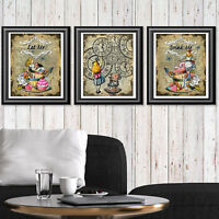 Alice in Wonderland Set of Art Prints, Wall Decor Poster Picture, Dictionary Art