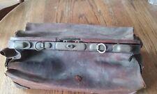 Vtg Brown Leather Doctor Medical Bag Case House Call Travel Satchel Steam Punk