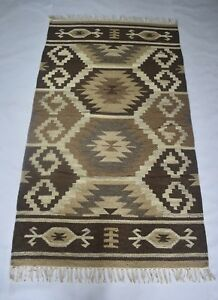 Hand Woven Wool & Cotton Rug Home Decorative 3x5 Feet Area Rug DN-1274