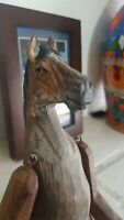 ANTIQUE WOOD CARVED SITTING HORSE SCULPTURE/FOLK ART-DETAILED/RARE EYES INTACT.