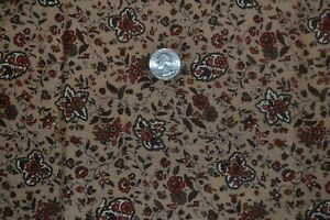 """Cotton quilting fabric 43"""" x 2.25 yards, brown & tan floral print"""