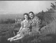 3 small negatives - Couple enjoying picnic on hill - complete with 'Thermos'.