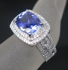 Solid 18K White Gold Natural Violet Blue Cushion Cut Tanzanite VS Diamond Ring