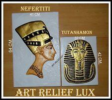 2 X RELIEF TUTANCHAMUN NOFRETETE AGYPTEN Stuck Gips Skulptur Ägyptische Egypt